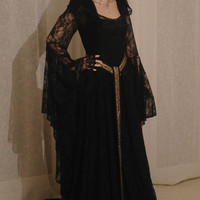 Elven black lace dress with hood  Renaissance medieval handfasting  wedding custom made