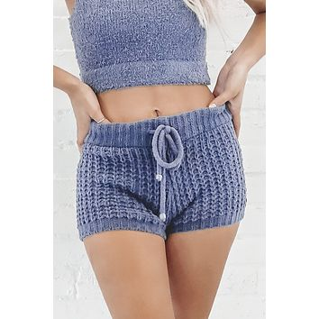 Knit And Chill Blue Lounge Shorts
