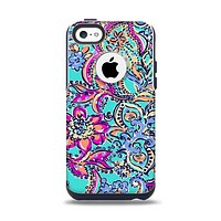 The Bright WaterColor Floral Apple iPhone 5c Otterbox Commuter Case Skin Set