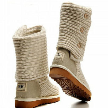"""UGG"" Women Fashion Weave Wool Snow Boots White"