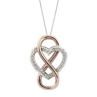 Two-Tone Sterling Silver and Rose Gold Plated Infinity Heart Pendant 1/10ctw