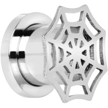 00 Gauge Stainless Steel Top Spider Web Tunnel Screw Fit Plug