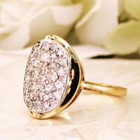 Pave' Diamond Vintage Engagement Ring 14K Two Tone Gold Diamond Cluster Cocktail Ring Diamond Wedding Anniversary Ring Size 6.5!
