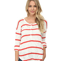 Splendid Salina Stripe Loose Knit Henley Soft White - 6pm.com