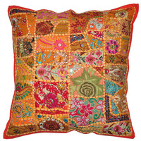 20X20 XL Orange Tribal accent throw pillow, Patchwork Handmade Indian Ethnic cottage Pillow, floor pillow outdoors decorative throw pillow