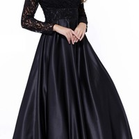 CLEARANCE - Poofy Satin Ball Gown Black V Neckline Lace Long Sleeves (Size Medium)