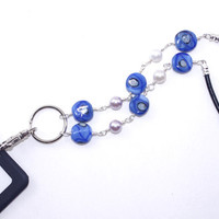 Badge Clip Necklace – Blue Glass Artisan Lampwork Bead Lanyard – Name Tag Holder – Unique Gift for Women