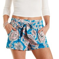 Sash-Belted Paisley Print High-Waisted Shorts