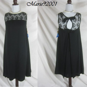 Vintage 50s 60s DEADSTOCK Black Lace Cocktail Party Dress W40