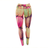 Rainbow Macaroons Cookie Pattern Custom Yoga Exercise Leggings