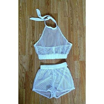 Black and White Shorts See Through Outfit Two Piece Set Mesh Top Crop Tops
