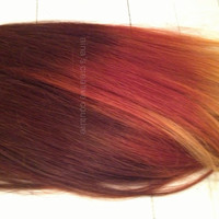 "Auburn Fire Ombre//Auburn faded to Red Blonde Copper//(6) Pieces, 20""//Double Wefted//Custom Your Own"