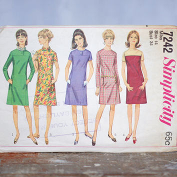 Vintage 1960s Dress Sewing Pattern Simplicity 7242, Misses Dress with Yoke Interest Size 14 Medium Retro 60s Dress Pattern