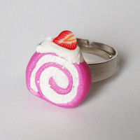 PINK SWIRL CAKE - with strawberry - adjustable ring