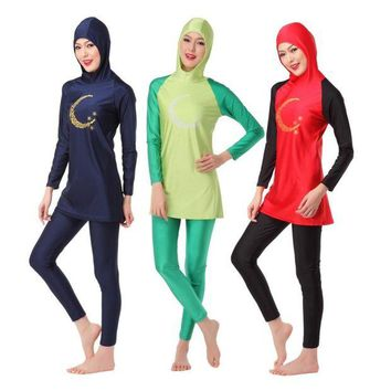 ONETOW Women's Islamic Moon Printing Swimsuit Muslim Modest Swimwear