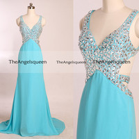 Green V Neck Two Shoulder Rhinestones Beading Prom Dresses,long prom dresses,prom dresses,prom dress,prom dresses long,evening dress