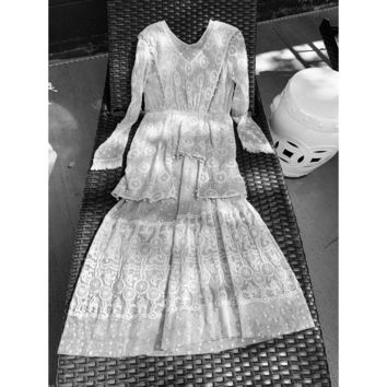 Antique Spiderweb Lace Dress Edwardian Gown Extra Small Tea Dress