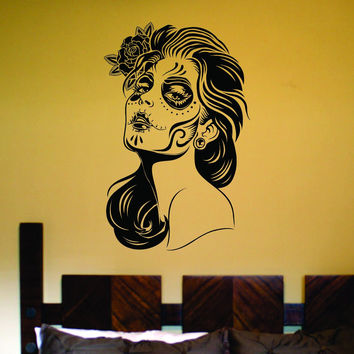 Day of the Dead Girl Wall Vinyl Decal Sticker