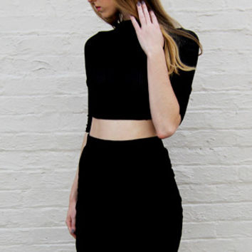 Ribbed Crop Top and Pencil Skirt Set in Black
