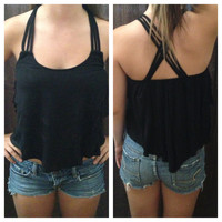 In Style Black Crop Tier Top with Cross Strap Back
