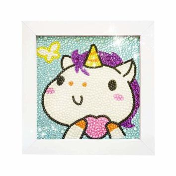 5D Diamond Painting Full Drill Kits for Kids, Cross Stitch Kits for Children with Frame 6X6 Inch (Horse)