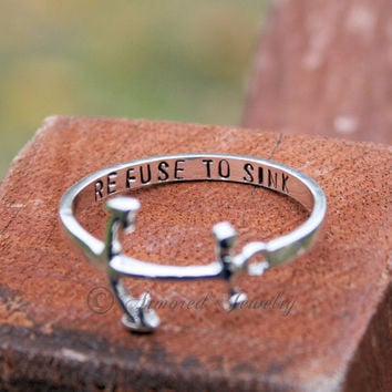 Personalized Anchor Sterling silver ring - Refuse to sink - Navy - USN - Military - Customizable