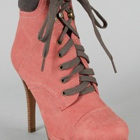 Vary-7 Two Tone Lace Up Ankle Bootie