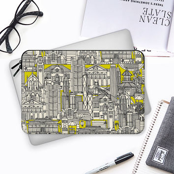 Hong Kong toile de jouy chartreuse Macbook Pro 13 sleeve by Sharon Turner | Casetify