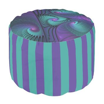 Purple meets Turquoise modern abstract Fractal Art Pouf