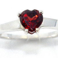 1 Carat Garnet Heart Ring .925 Sterling Silver Rhodium Finish White Gold Quality