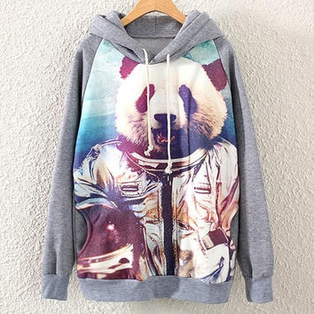Womens Hooded Long Sleeve Astronaut Panda Print Pullover Sweatshirt Hoodie Tops (Color: Gray) = 1920040452