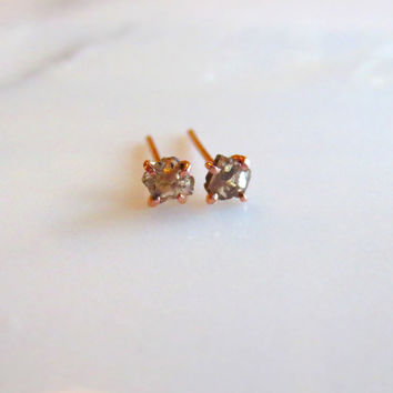 Diamond Slice Earrings, Rose Cut Diamond Earrings, Chocolate Diamond Earrings, Rose Gold Earrings, Natural Brown Diamond Gold Post Earrings