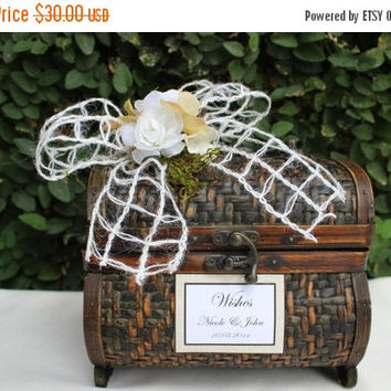ON SALE Rustic Wedding Mini Wishes Trunk Box Holder