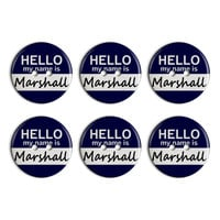 Marshall Hello My Name Is Plastic Resin Button Set of 6