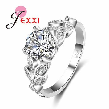 JEXXI Fashion Leaf Design Full Clear Cubic Zircon Anniversary Finger Rings For Woman Sterling 925 Silver Wedding Jewelry