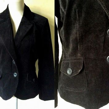 Autumn / Fall Fashion: black fine corduroy blazer jacket (medium to large)