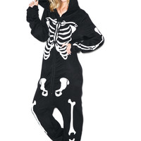 Wildfox Couture Bones Halloween Jumpsuit Jet Black