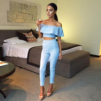 Women Rompers Jumpsuit Sexy Strapless Jumpsuit Solid Color Falbala Jumpsuit Ruffle Off Shoulder 2PCS/Set Jumpsuits