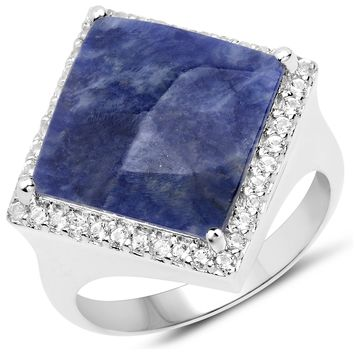 LoveHuang 4.79 Carats Genuine Blue Aventurine and White Topaz Square Ring Solid .925 Sterling Silver With Rhodium Plating