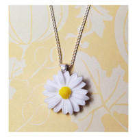 "Handmade ""Darling Daisy"" White Daisy Necklace with Silver Chain"