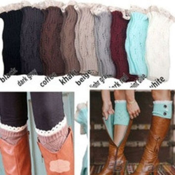 Women's Crochet Knitted Lace Trim Toppers Cuffs Liner Leg Warmers Boot Socks [9857329359]