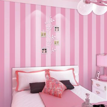 Modern Simple Style 3D Pink Striped Wallpaper for Children's Room Girls Bedroom Living Room Wall Decor Non-woven Wall Paper Roll