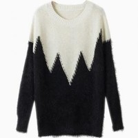 Black & White Contrast Fluffy Knit Sweater
