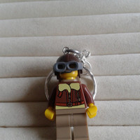 Pilot  keychain keyring  made with LEGO® series 3 minifigure