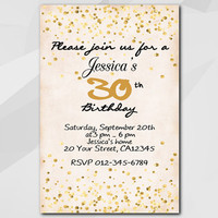 Confetti Birthday Invitation, Gold Confetti Invitation, Custom Birthday Party invitation, confetti themed party XA325-1
