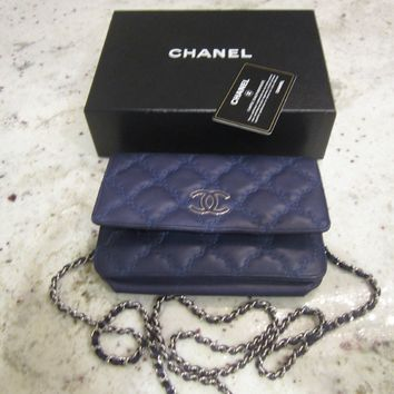 CHANEL BLUE Wallet on Chain WOC Flap Messenger Bag Silver tone hardware LAMBSKI