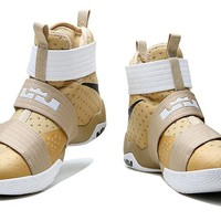 Nike  LeBron James  Soldier 10Ⅹ  Beige /White  Basketball Shoe