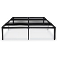 Queen size Modern Round Edge Black Metal Platform Bed Frame