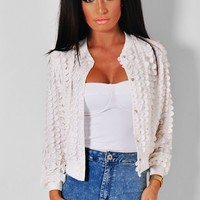Dainty White Petal Effect Bomber Jacket | Pink Boutique