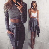 High Neck Long Sleeves Crop Top Bodycon Skirt Skinny Two Pieces Set